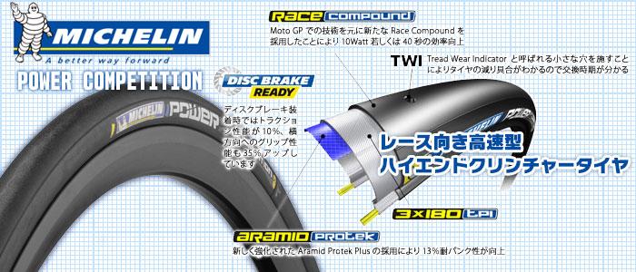 ミシュラン POWER COMPETITION ブラック 700×23C フォルダブル