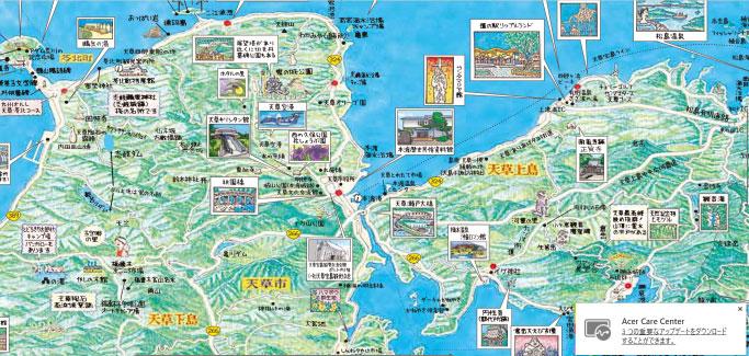 港にあった無人の観光案内所で島の地図とレンタサイクルの案内を手に入れる。