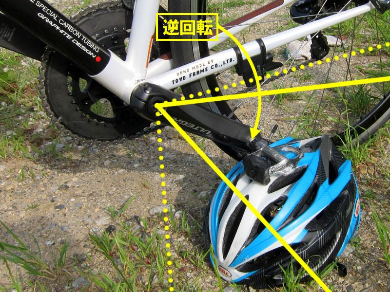 *何も無いところでロードバイクを立たせて、記念撮影する方法。