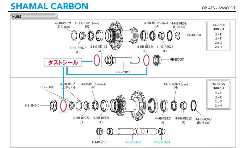 CAMPAGNOLO SHAMAL CARBON DB 2WAY ダストシール図解